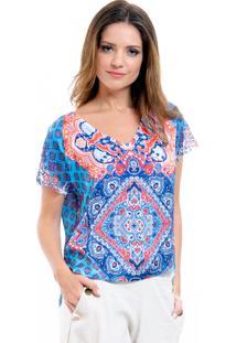 Blusa 101 Resort Wear Manga Renda Tunica Crepe Estampada Geométrica Azul