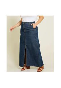 Saia Longa Plus Size Feminina Jeans Fenda Cintura Alta