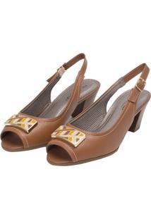 Sandália Com Pespontos & Aviamento- Marrom Claro & Bege