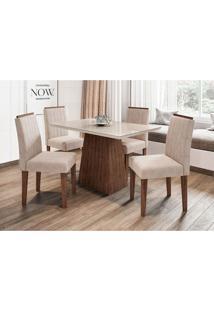 Conjunto De Mesa De Jantar Com Tampo De Vidro Jasmin E 4 Cadeiras Ana I Animalle Off White E Creme