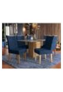 Mesa De Jantar Retangular Acerola 6 Cadeiras Kappesberg - Freijó/Azul