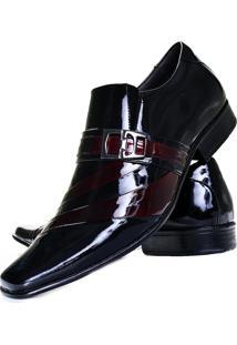 Sapato Social Verniz Gofer Masculino 632L Vinho Preto