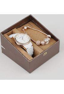 Kit De Relógio Analógico Mondaine Feminino + Pulseira - 53680Lpmvrf2K Branco - Único