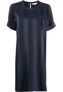 Tommy Hilfiger Vestido Midi Com Listras - Azul