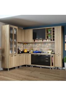 Cozinha Completa 16 Portas 3 Gavetas Sicília 5804 Preto/Argila - Multimóveis