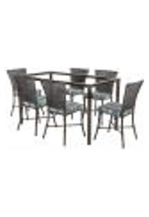 Jogo De Jantar 6 Cadeiras Turquia Tabaco A17 E 1 Mesa Retangular Sem Tampo Ideal Para Área Externa Coberta