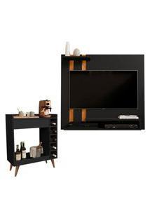 Kit Painel Para Tv Smart Plus Preto Com Nature E Aparador Retrô 1 Gaveta E Adega Intenso Preto