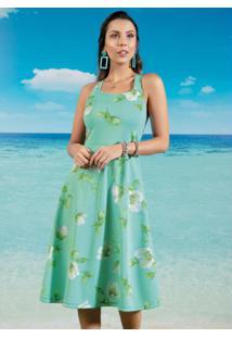 Vestido Midi Floral Verde Com Alças