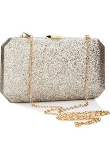 Bolsa Clutch Liage Brilhante Metal Tecido Brilho Retangular Alça Alcinha Dourada