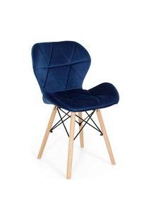 Cadeira Charles Eames Eiffel Slim Veludo Estofada - Azul Marinho