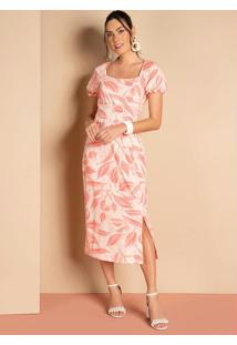 Vestido Midi Folhagem Rosa Com Decote Quadrado