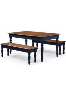 Conjunto Henriquez Mesa De Jantar Azul + 2 Bancos 180Cm - 59838 - Sun House