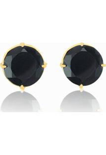 Brinco Toque De Joia Quartzo Negro Lapidado Manual Ouro Amarelo - Tricae