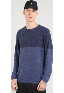 Suéter Masculino Em Tricô Mescla Azul