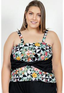 Blusa Floral E Geométrica De Alças Plus Size