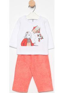 Pijama Manga Longa & Calã§A- Branco & Coralsonhart
