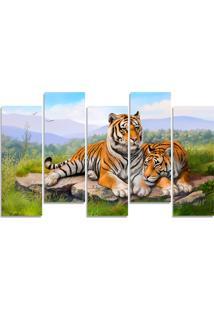 Quadro Decorativo Casal Tigre Natureza Casa Sala Quarto