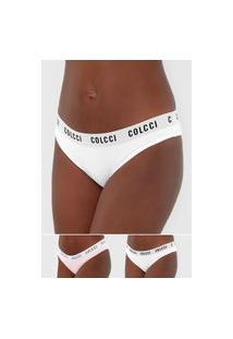 Kit 2Pçs Calcinha Colcci Underwear Tanga Lettering Branco/Rosa