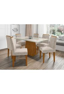 Conjunto De Mesa De Jantar Com Tampo De Vidro Jasmin E 6 Cadeiras Giovana I Animalle Off White E Creme