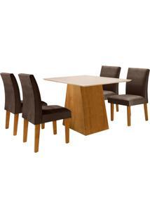 Conjunto De Mesa De Jantar Sevilha Com 4 Cadeiras Classic L Suede Off White E Marrom