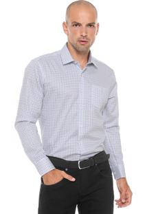 Camisa Vr Reta Quadriculada Branca/Azul
