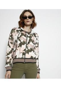 Jaqueta Camuflada Em Moletinho- Verde Militar & Rosa Clacoca-Cola