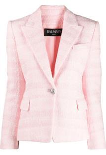 Balmain Blazer Slim Em Tweed Bouclé - Rosa