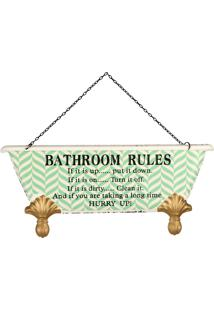 Placa De Metal Decorativa Vintage Bathroom Rules