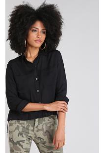 Camisa Feminina Mullet Com Bolsos Manga Longa Preta