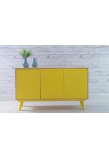 Armário 3 Portas Com Prateleira Puxador Bolinha Celeste - Natural E Amarelo 133X40X79,5 Cm