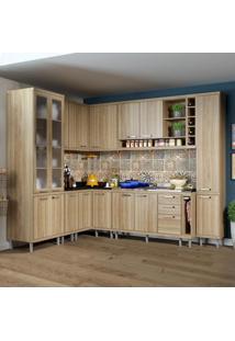 Cozinha Compacta 16 Portas 3 Gavetas Sicília 5804 Argila - Multimóveis