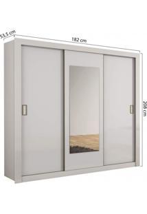 Guarda Roupa Casal Com Espelho 3 Portas De Correr 3 Gavetas Apoena Plus Móveis Lopas Branco