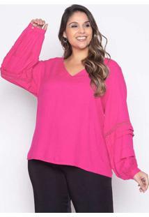 Blusa Almaria Plus Size Pianeta Viscose Rosa