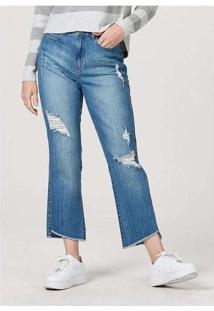Calça Feminina Em Jeans De Algodão Destroyed Azul-