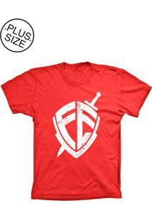 Camiseta Lu Geek Plus Size Escudo Da Fé Vermelho