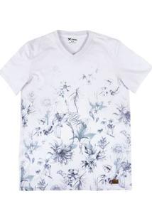 Camiseta Masculina Regular Em Malha De Algodão Com Estampa Rotativa