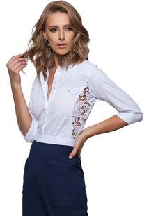 Camisa Zaiko Frizada Com Renda 3/4 Branco 1597Branco