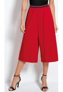 Calça Pantacourt Vermelha Com Elástico