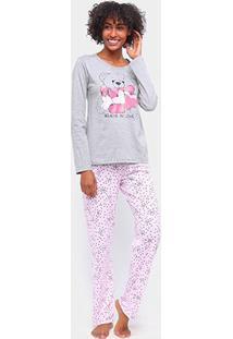 Pijama Three Hands Love Longo Feminino - Feminino-Mescla