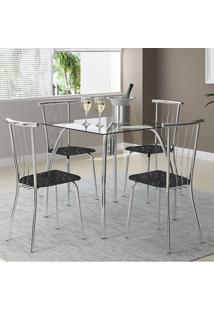 Mesa 1502 Vidro Incolor Cromada Com 4 Cadeiras 154 Fantasia Preto Carraro