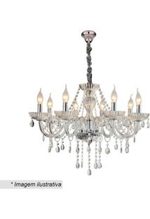 Lustre Candelabro Com Ornamentos- Cristal- 47Xø70Cm