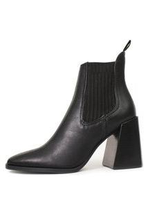 Bota Salto Elástico Damannu Shoes Yasmin Napa Preto