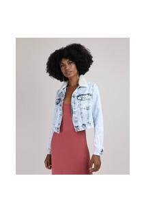 Jaqueta Jeans Feminina Cropped Marmorizada Com Recortes E Bolsos Gola Com Pelo Azul Claro