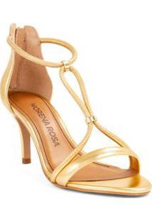 Sandalia Salto Medio Ziper Traseiro Dourado