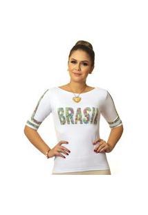 Blusa Ficalinda Meia Manga Com Proteção Solar Uv Estampa Exclusiva Copa Brasil 10.