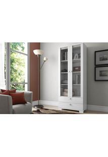 Estante Para Livros Charles Com Portas De Vidro Cor Branco Brilho - 20372 - Sun House