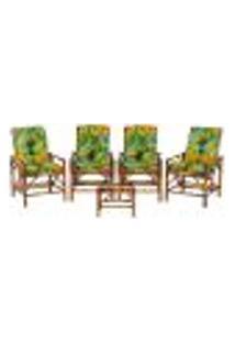Conjunto Mesa E 4 Cadeiras De Bambu Cancun Para Área Edicula Jardim G32