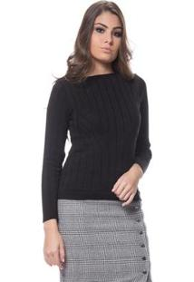 Blusa Logan Tricot Textura Modal Feminina - Feminino-Preto