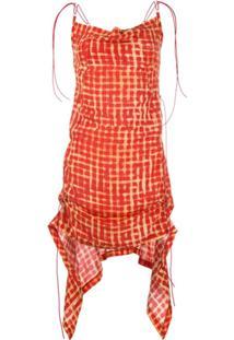 Charlotte Knowles Vestido Xadrez Franzido - Vermelho