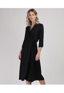 Vestido Feminino Midi Transpassado Manda Curta Preto